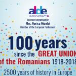 """VIDEO Eurodeputatul Norica Nicolai a organizat la Bruxelles conferința """"100 de ani de la Marea Unire a românilor, 1918-2018: 2500 de ani de istorie în Europa"""""""