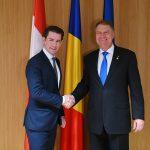 Klaus Iohannis, reuniune bilaterală cu Sebastian Kurz la Bruxelles. Cancelarul Austriei vine pe 21 decembrie la București pentru a preda simbolic ștafeta președinției Consiliului UE către România