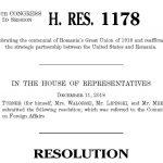 Camera Reprezentanților a adoptat o rezoluție pentru celebrarea Centenarului Marii Uniri și reafirmarea Parteneriatului Strategic SUA-România